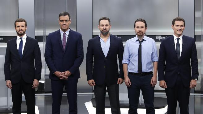 Pablo Casado, Pedro Sánchez, Santiago Abascal, Pablo Iglesias y Albert Rivera en el debate del 4 de noviembre.