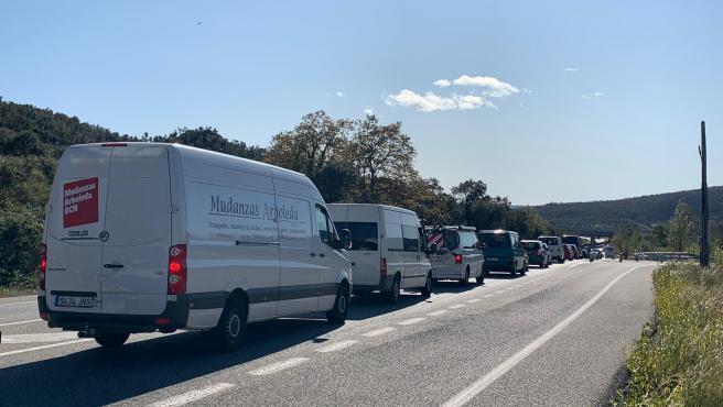 Retenciones en la carretera N-II en La Jonquera (Girona) tras el corte de Tsunami Democràtic