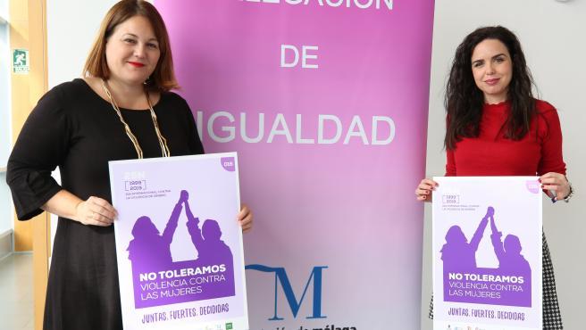 Natacha Rivas, vicepresidenta cuarta de la Diputación; y la diputada de Igualdad, Lourdes Piña, presentan la campaña y programación con motivo del 25N