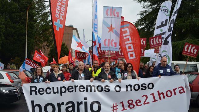 Protesta de sindicatos de profesorado gallego