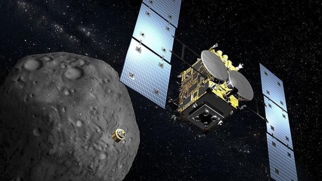 Recreación digital de la sonda japonesa Hayabusa2 y el asteroide Ryugu .