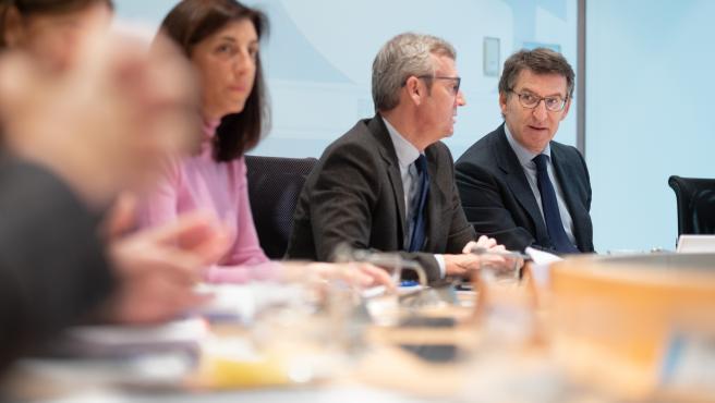 O titular do Goberno galego, Alberto Núñez Feijóo, preside a reunión do Consello da Xunta. San Caetano, Santiago de Compostela, 14/11/19.