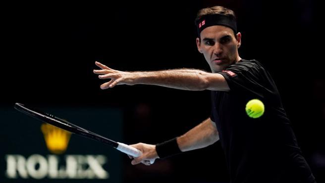 Roger Federer, durante la Copa de Maestros.