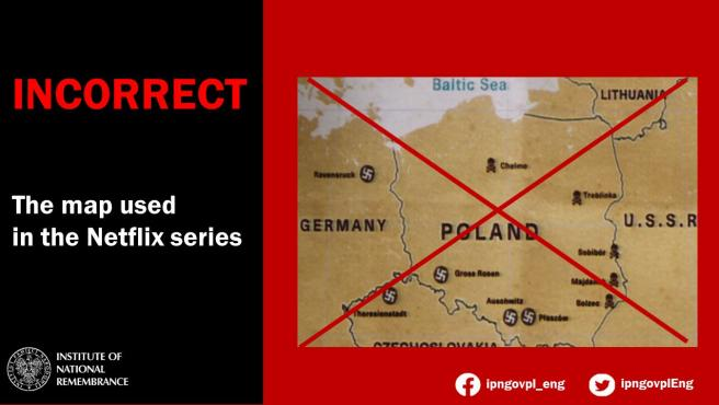 Mapa de Netflix, corregido por el Institute of National Remembrance de Polonia.