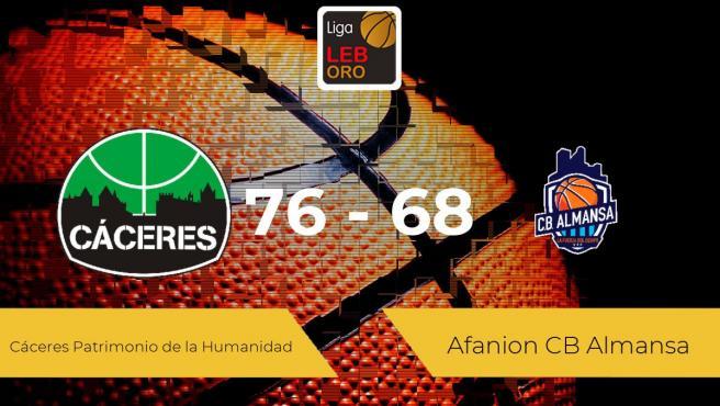 El Cáceres Patrimonio de la Humanidad logra la victoria frente al Afanion CB Almansa por 76-68