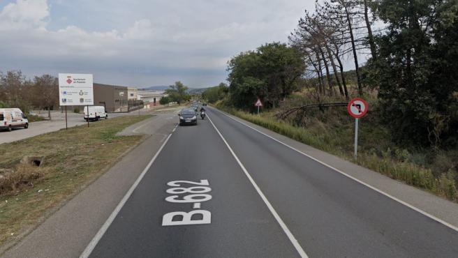 Imagen de la carretera B-682, en el término de Palafolls (Barcelona).
