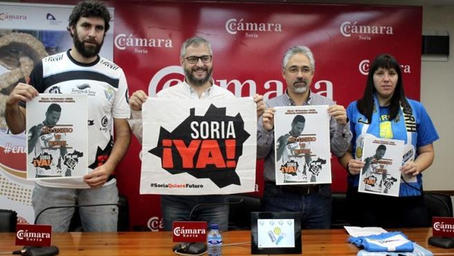 De izda a dcha, Manuel Sevillano, Alfredo Cabrerizo, Carlos Vallejo y Laura Gil presentan las iniciativas del partido entre el Río Duero y Teruel.