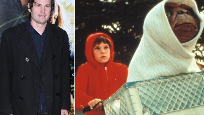 Henry Thomas, en una imagen actual y en la película 'ET' (1982).