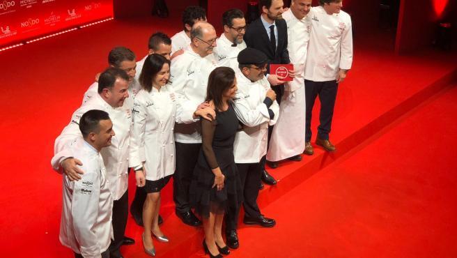 Foto de familia con todos los tres estellas de la Guía Michelin España y Portugal 2020