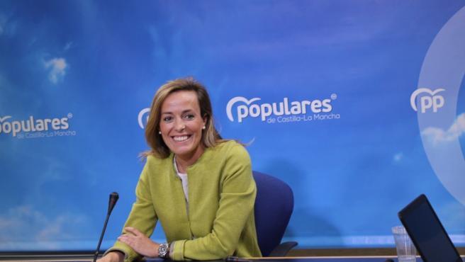 La secretaria nacional de Sostenibilidad y Despoblación del PP, Carmen Navarro, en rueda de prensa.
