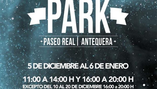 Cartel parque de ocio de hielo en Antequera