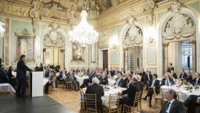 El director general de banca corporativa de Banca March, José Manuel Arcenegui, interviene en la entrega a la entidad del premio a la Competitividad del Cluster Marítimo Español.