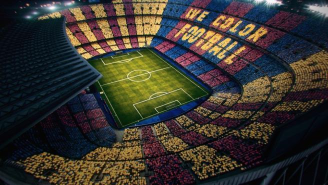 Foto de archivo de un mosaico en el Camp Nou