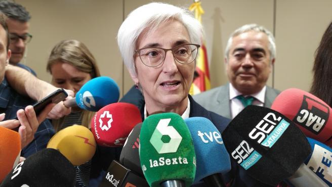 La fiscal general del Estado, María José Segarra, al visitar la Ciudad de la Justicia de Barcelona, el 21 de noviembre de 2019.