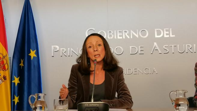 La portavoz del Ejecutivo, Melania Álvarez, en rueda de prensa tras el consejo de Gobierno.