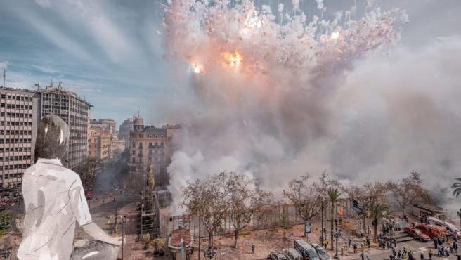 Recreación de la falla municipal de València 2020, 'Això també passarà'
