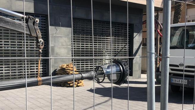 Trabajos de renovación del alumbrado en València.
