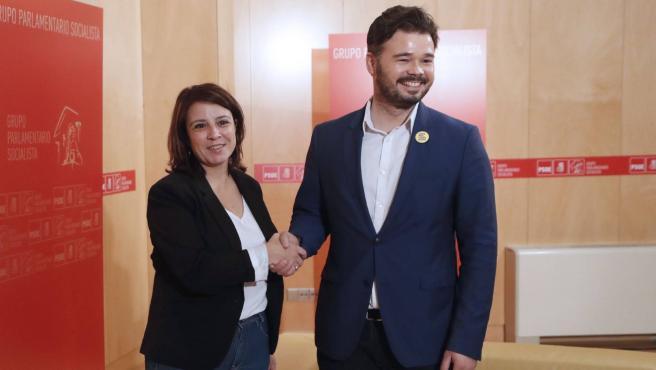 Adriana Lastra y Gabriel Rufián, en una imagen de archivo del pasado junio.