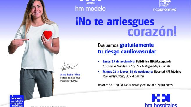 HM Hospitales pone en marcha en A Coruña la quinta edición de su campaña de prevención cardiovascular '¡No te arriesgues corazón!'.