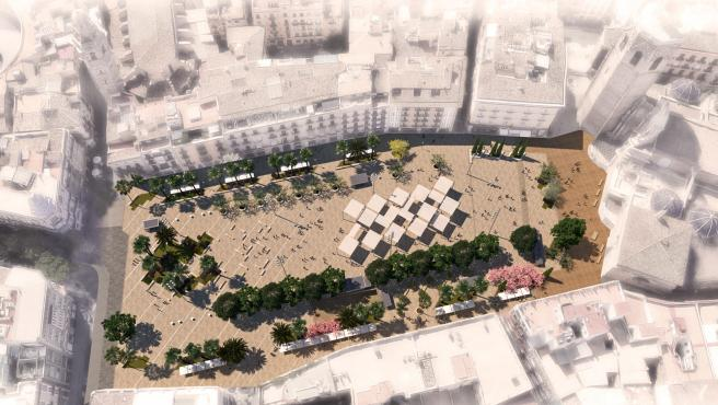 Imagen de la renovada Plaza de la Reina