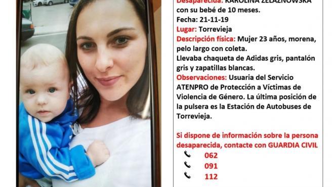 Cartel en el que se informa de la desaparición de la mujer.