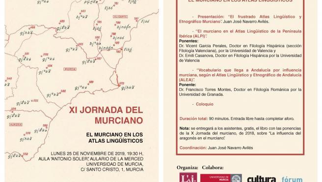Cartel de la XI Jornada del Murciano, con el orden de intervención de los ponentes