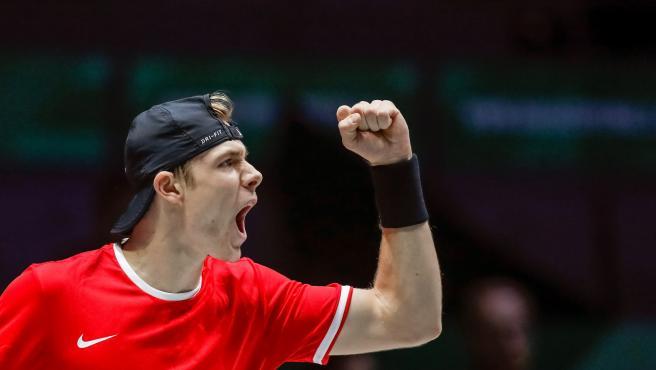 El canadiense Denis Shapovalov, durante la Copa Davis.