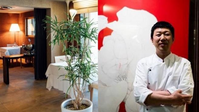 Imagen de Eo Yun-gwon y uno de los salones de su restaurante.