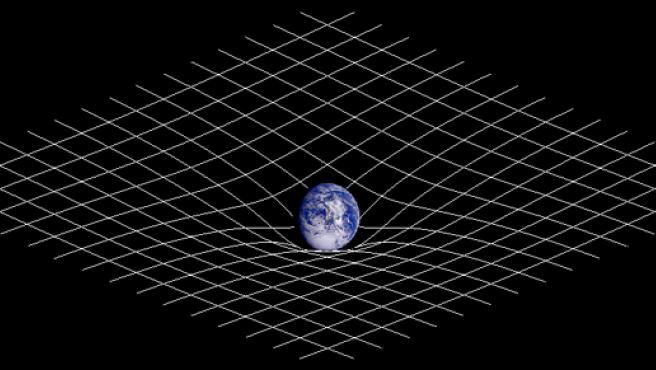 Representación esquemática bidimensional de la deformación del espacio-tiempo en el entorno de la Tierra.