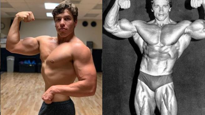 Combo de imágenes de Joseph Baena y su padre, el actor Arnold Schwarzenegger, cuando se dedicaba al culturismo en los 70.