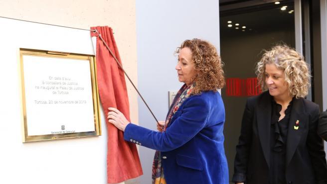 La consellera de Justicia, Ester Capella, en la inauguración del nuevo Palacio de Justiaica de Tortosa