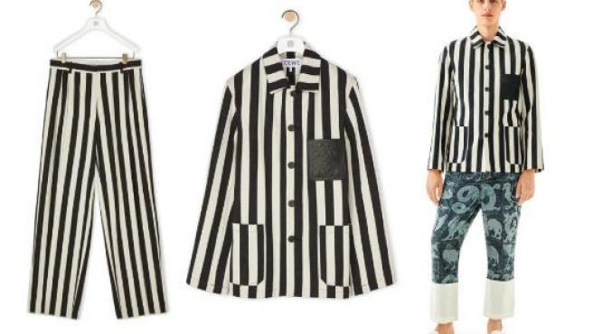 Prendas de Loewe inspiradas en los uniformes de las víctimas del Holocausto.
