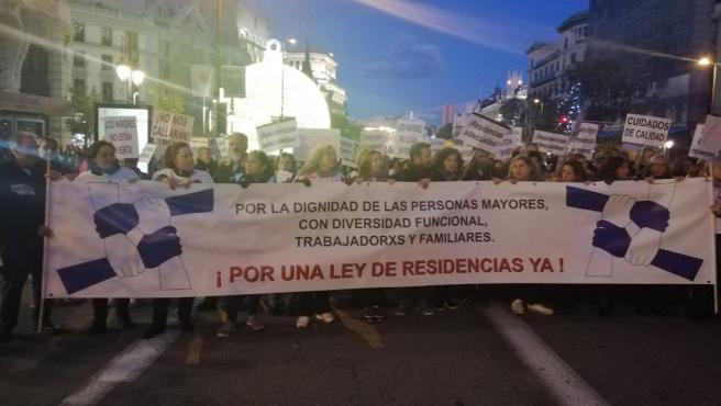 Una imagen de la protesta llamada Marea de las Residencias, que tuvo lugar en Madrid este sábado.