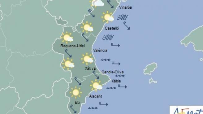 Predicción de Aemet para la Comunitat Valenciana del 23 de noviembre de 2019