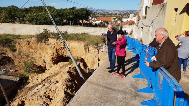 Zona de los desprendimientos en Torreagüera