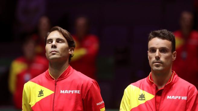 Rafa Nadal y Roberto Bautista, durante la final de la Copa Davis.