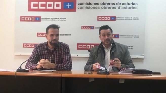 Los secretarios generales de CCOO y UGT de Asturias, José Manuel Zapico y Javier Fernández Lanero