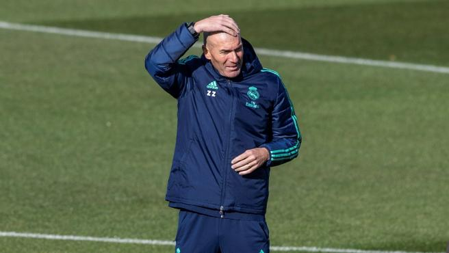 Zinedine Zidane, en un entrenamiento del Real Madrid.