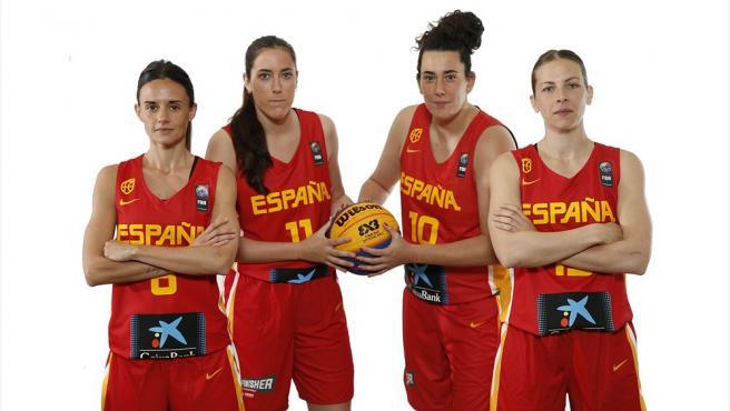La selección española femenina de basket 3x3 durante el Pre-Mundial de Puerto Rico