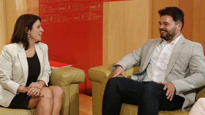Adriana Lastra y Gabriel Rufián en la reunión del 16 de noviembre.