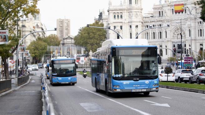 Un autobús de la EMT pasa por Cibeles en Madrid.