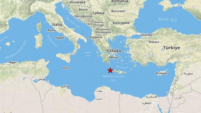 Localización del seísmo en Creta.