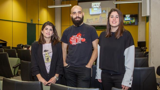 Investigadores que representan a la UPNA en la final del concurso 'Tesis en 3 Minutos'