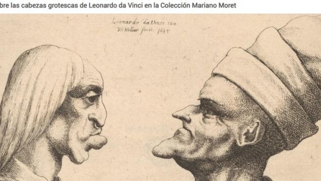 Aguafuerte sobre las cabezas grotestas de Leonardo Da Vinci de la Colección Mariano Moret. Exposición Teste Grottesche en el Museo de Bellas Artes de València.