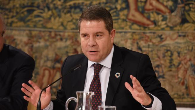 El presidente de Castilla-La Mancha, Emiliano García-Page, en rueda de prensa.