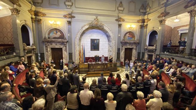 Imagen del acto institucional celebrado en el Ayuntamiento de València con motivo del Día Internacional contra la Violencia Machista.