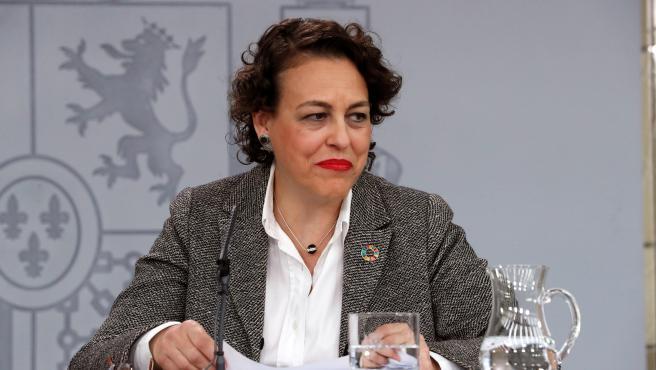 La ministra de Trabajo Magdalena Valerio durante la rueda de prensa.