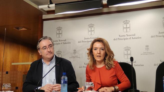 La portavoz del PP, Teresa Mallada, y el diputado Pablo González, en rueda de prensa.