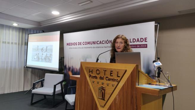 La profesora de la Universidad Autónoma de Barcelona, Isabel Muntané, en el congreso 'Medios de comunicación e igualdade'