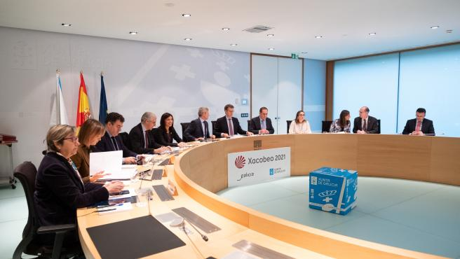 O titular do Goberno galego, Alberto Núñez Feijóo, preside a reunión do Consello da Xunta. San Caetano, Santiago de Compostela, 28/11/19.